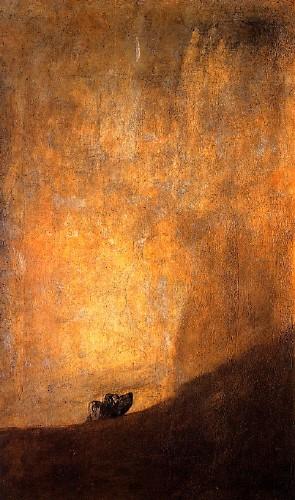 Perro semihundido. Goya