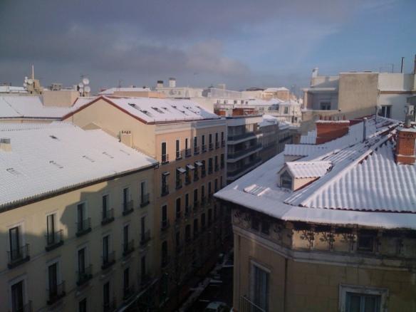 Madrid bajo la nieve desde mi ventana.